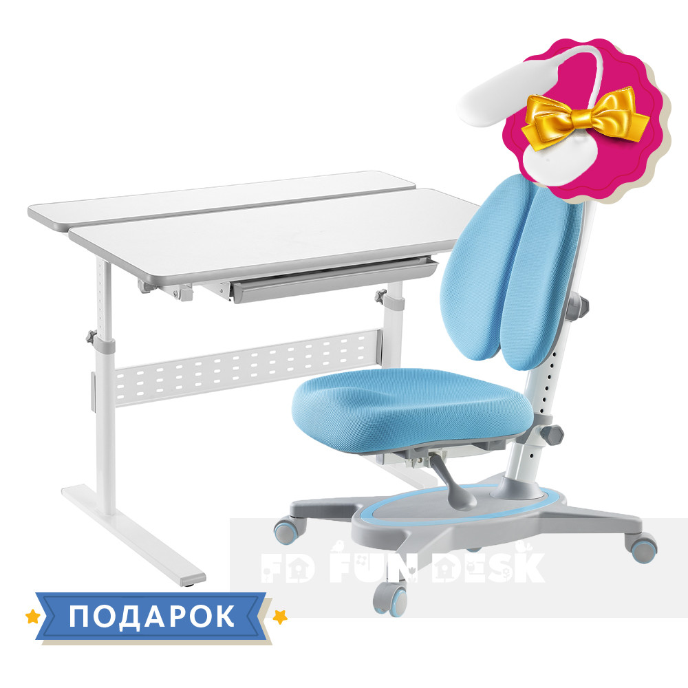 Комплект парта Colore Grey + подростковое кресло FunDesk Primavera II Blue