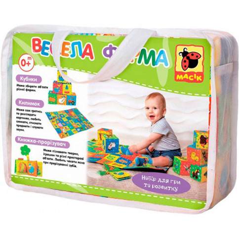 """Детский развивающий коврик игровой набор """"Веселая ферма"""" развивающий коврик, кубики, книжка-прорезыватель"""