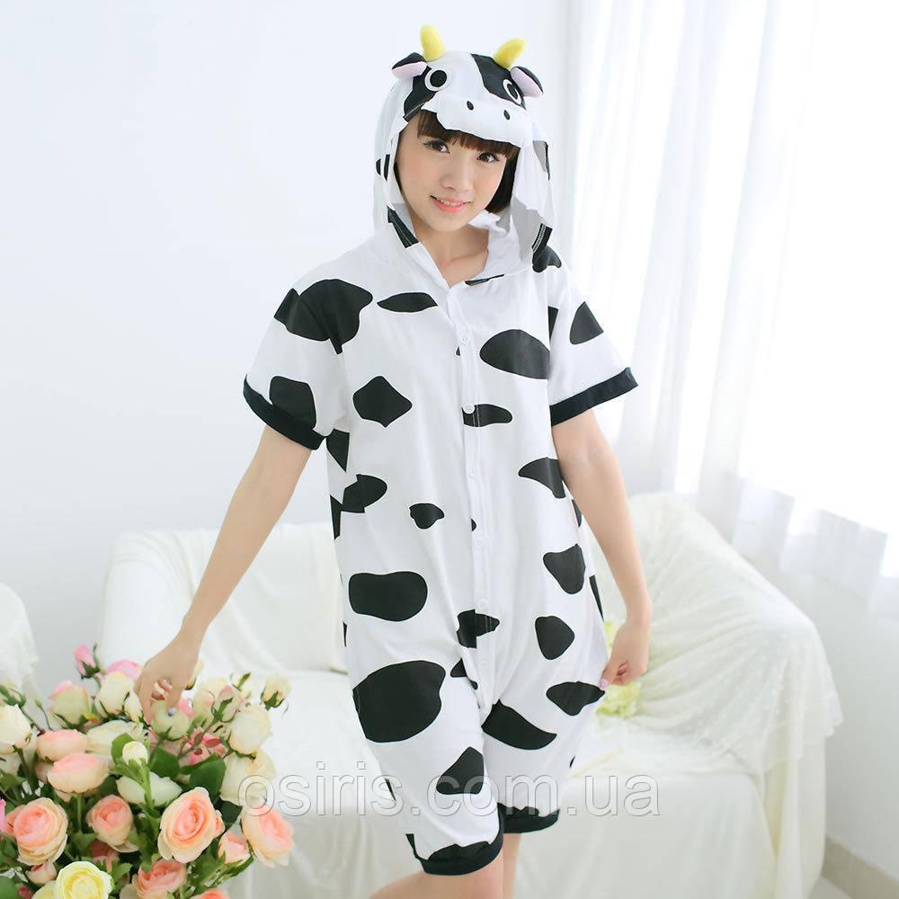 Детская летняя пижама Кигуруми Корова хлопок размер 140 (на рост 130-140 см)