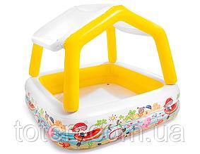 """Бассейн надувной детский """"Аквариум"""" съёмный навес, широкие бортики, 157 х 157 х 122 см Intex  желтый"""