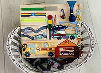 Бизиборд Машинки гараж 45*44 развивающая доска монтессори для мальчика