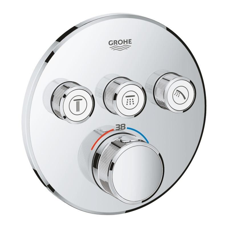 Внешняя часть термостатического смесителя для ванны Grohe Grohtherm SmartControl 29121000 на три потребителя