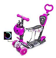 Беговел - самокат для девочки сверкающие колеса. Бело-розовый с маками