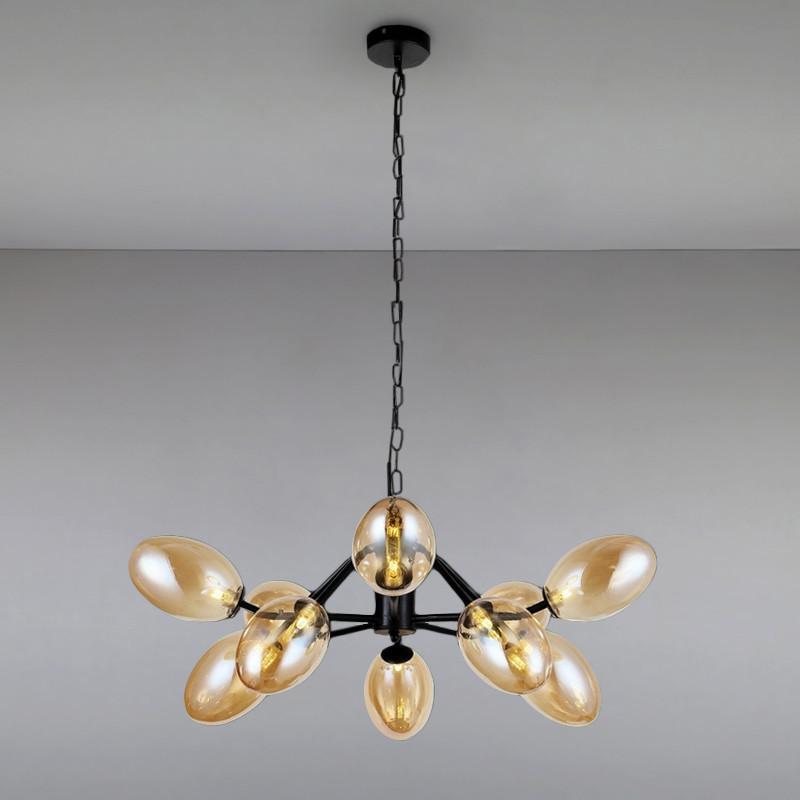 Люстра подвесная на десять ламп LS-813121-10 BK+BR черная