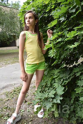 Комплект детский желтая майка зеленые шорты, фото 2
