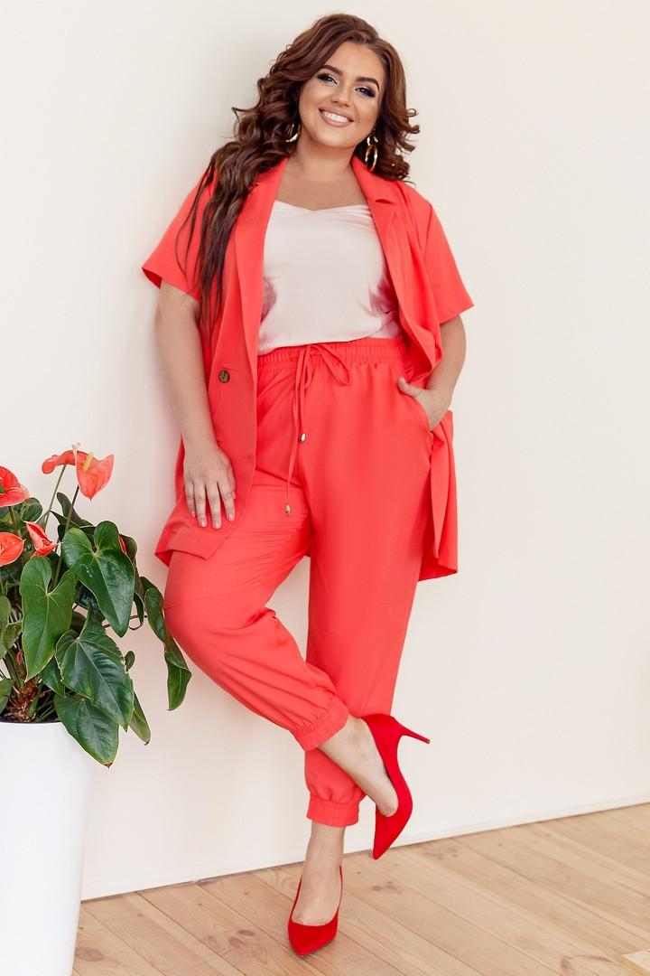 Женский стильный костюм двойка (пиджак + брюки) батал с 48 по 58 рр ткань киви