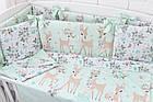Дитяча постіль «Косулі і трояндочки» м'ятні з бортиками на 4 сторони і сменкой, №380, фото 2