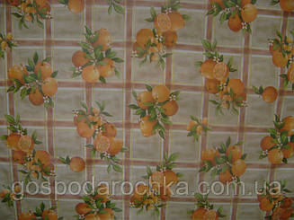 Клеенка кухонная столовая ПВХ без основы 1,37 Апельсины 443-1