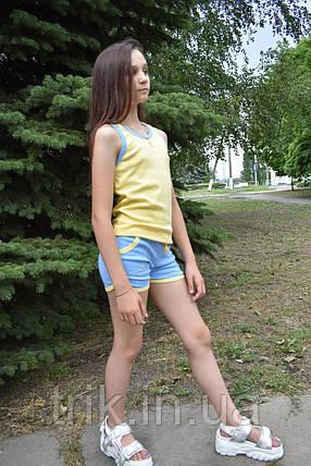 Комплект детский голубые шорты желтая майка, фото 2