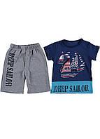 Костюм детский мальчику (шорты и футболка) морской принт