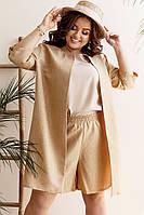 Женский стильный костюм тройка (шорты + кардиган + майка) батал с 48 по 58 рр, фото 1