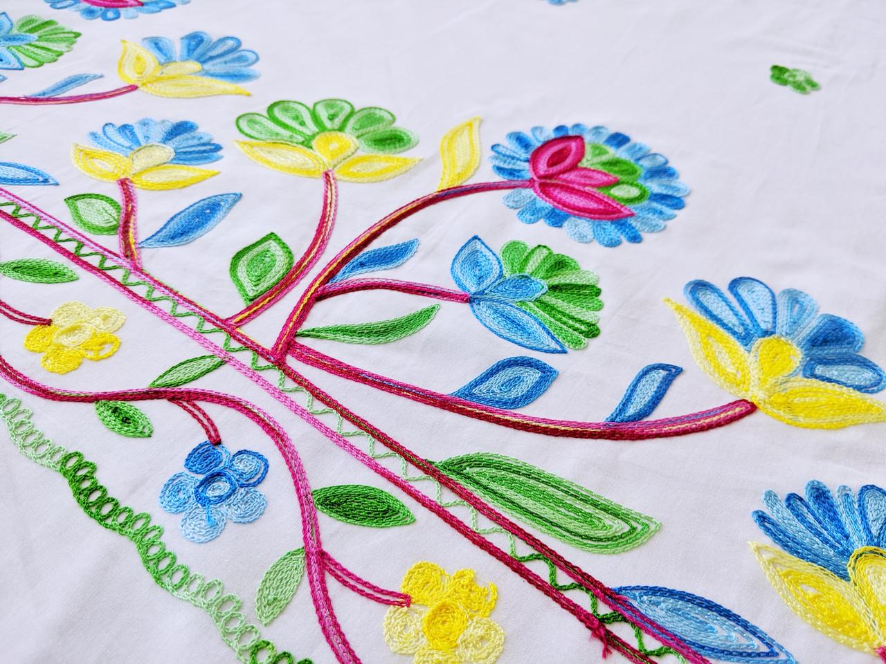Коттон купон весна, розово-голубой на белом
