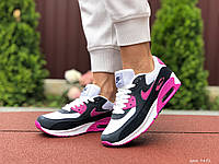 Кроссовки женские Nike Air Max 90 черные с белым (реплика) (9492)