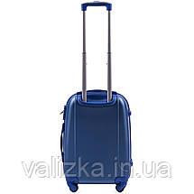 Комплект пластиковых чемоданов 3 шт:  малый, средний, большой с фурнитурой в цвет синие Wings k310, фото 3