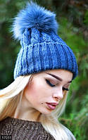 Женская шапка шерсть с акрилом натуральный мех песец Турция