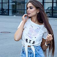 Жіноча біла футболка з паєтками BTS 6849 New Noce