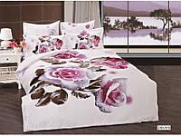 Полуторное постельное белье 3D Arya сатин 70х70  Drops c розами