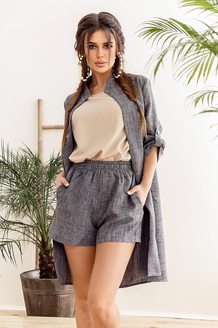 Модный женский костюм тройка (шорты + кардиган + майка) с 42 по 46 рр лён + софт
