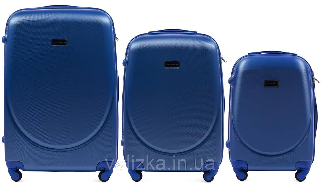 Комплект пластиковых чемоданов 3 шт:  малый, средний, большой с фурнитурой в цвет синие Wings k310