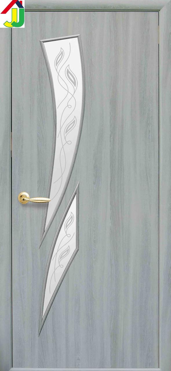 Дверь межкомнатная Новый стиль Камея Р3 Экошпон Модерн Ясень патина