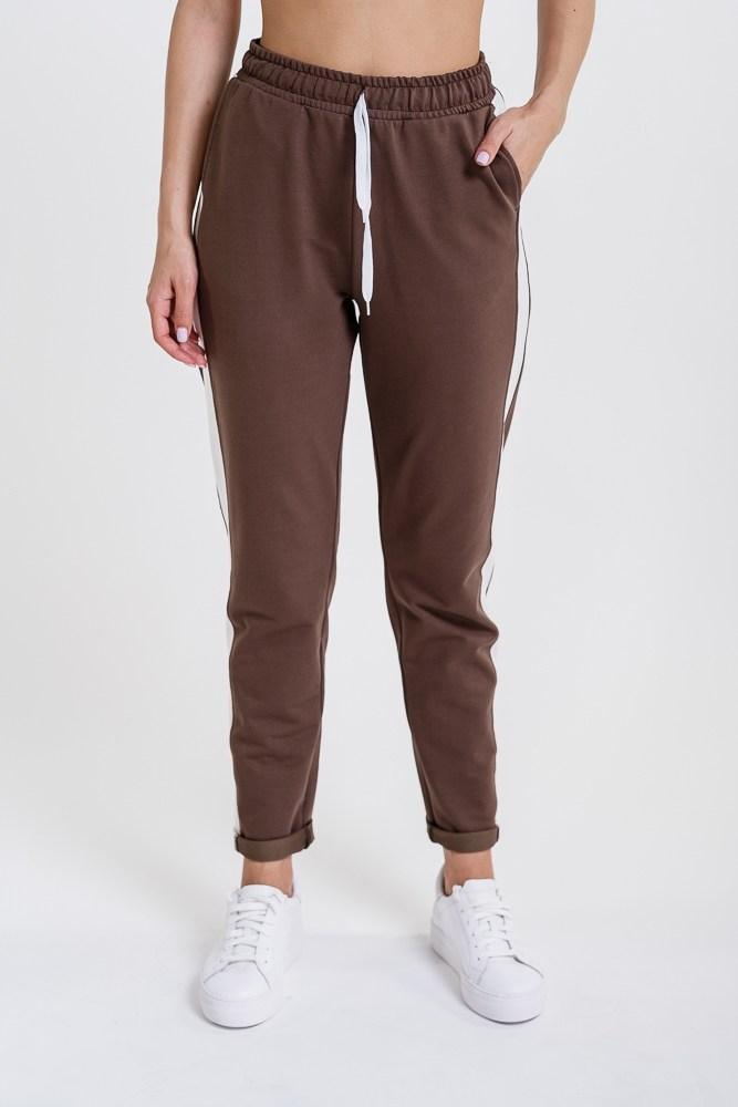 Женские спортивные штаны с лампасами (Темный кофе)