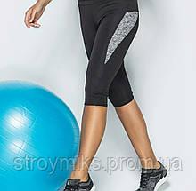 Бриджи женские спортивные с цветной вставкой (серые)