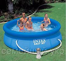 Надувной бассейн 396 см inteх с фильтр-насосом Объем воды: 7260л. Насос-фильтр картриджный: 2006л/ч