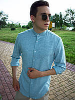 Мужская льняная рубашка. Стильная льняная рубашка голубого цвета. Топ качество!!!