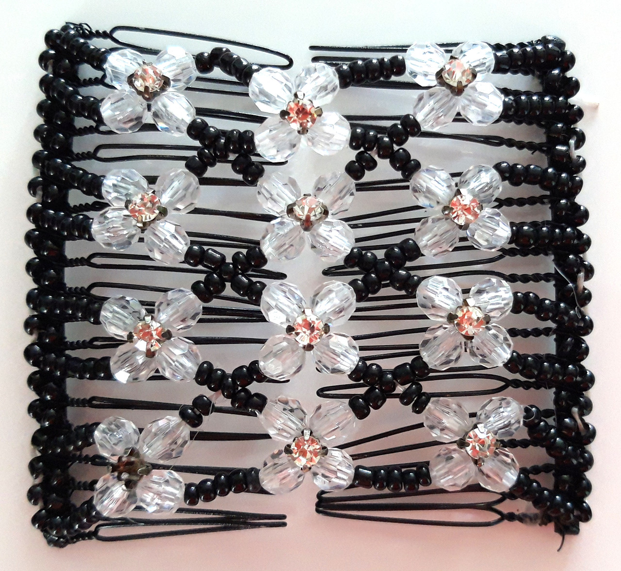 Заколка монтера изи коум 8х7 см черная с белыми цветами