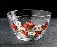 Салатник 19 см стеклянный рисунок цветы в ассортименте.