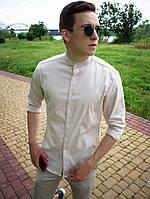 Рубашка мужская из льна. Стильная мужская льняная рубашка молочного цвета.