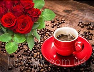 Алмазная вышивка кофе и розы 20х30 см, полная выкладка, квадратные стразы