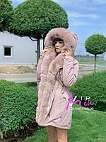 Парка розовая с натуральным мехом песца 85 см