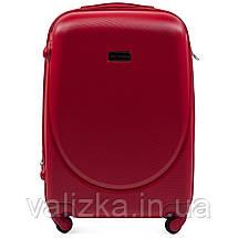 Комплект пластиковых чемоданов 3 шт:  малый, средний, большой с фурнитурой в цвет красные Wings k310, фото 3
