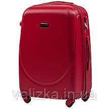 Комплект пластиковых чемоданов 3 шт:  малый, средний, большой с фурнитурой в цвет красные Wings k310, фото 2