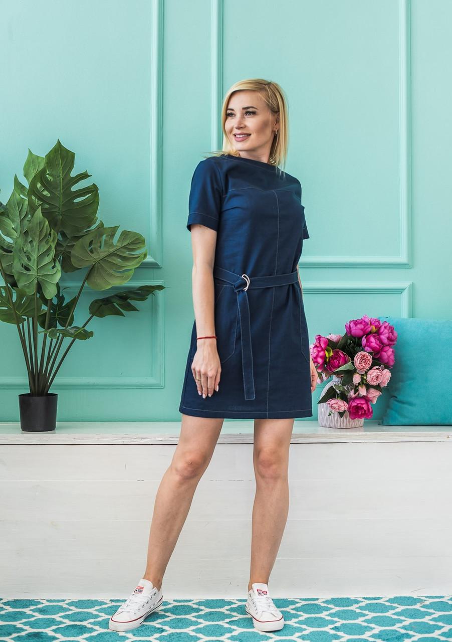 Летнее платье синее