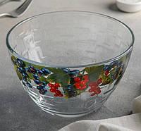 """Салатник скляний 18 см (7с1329) """"Сідней"""" малюнок фрукти в асортименті., фото 1"""