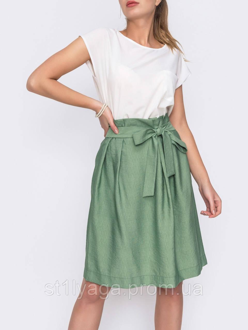 Летняя юбка из льна с вшитым поясом