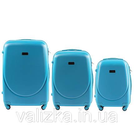 Комплект пластиковых чемоданов 3 шт:  малый, средний, большой с фурнитурой в цвет голубой, фото 2