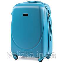 Комплект пластиковых чемоданов 3 шт:  малый, средний, большой с фурнитурой в цвет голубой, фото 3