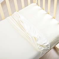 Простынь трикотажная на резинке в кроватку белая, фото 1