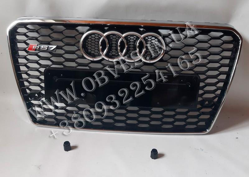 Решетка радиатора Audi A7 2011-2014 стиль RS7 (черная с хромированной окантовкой, без Quattro)