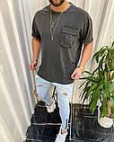 Футболка мужская оверсайз графит с карманом, фото 2