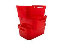 Корзина с ручками пластиковая Baskets, 24*17*10 см (HDR-1082) Красный