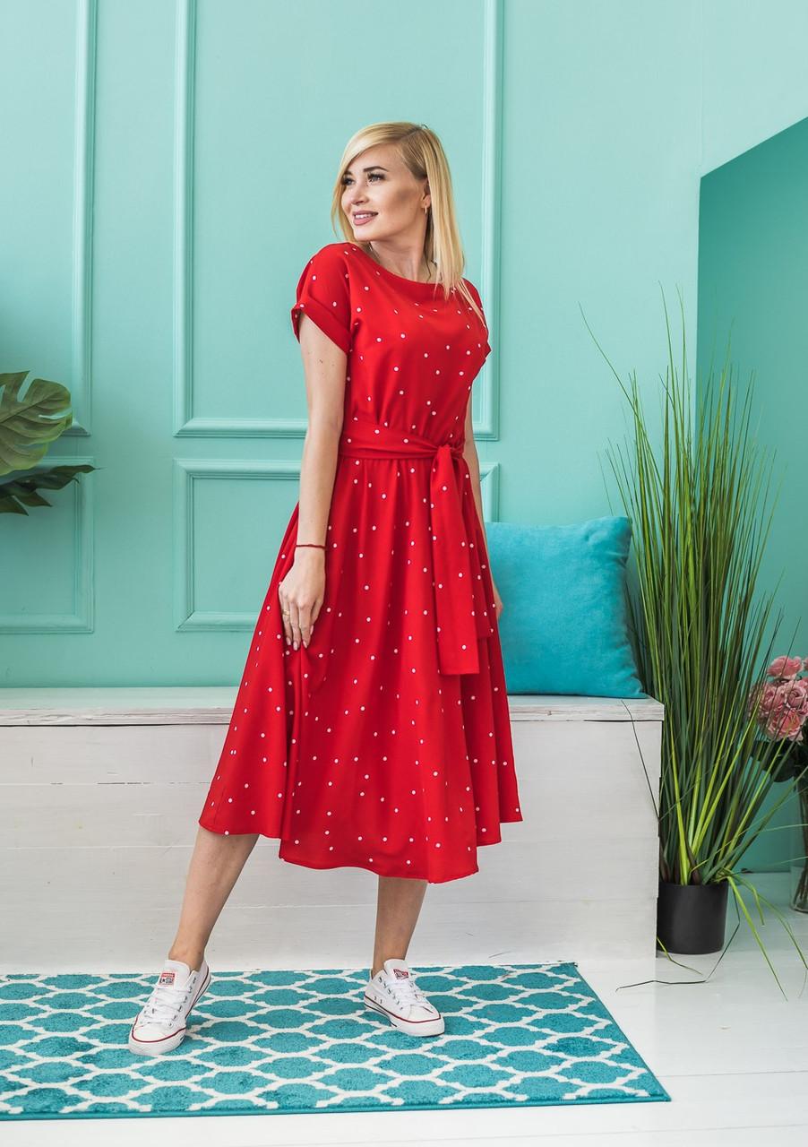 Летнее женское платье Горох красное