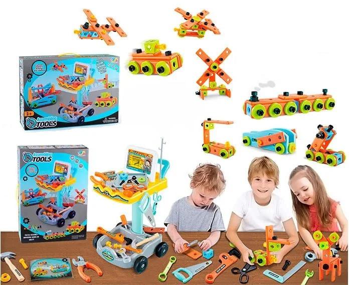 Детский игровой набор инструментов в тележке на 94 детали c отверткой, молотком и пилой
