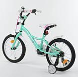 Велосипед детский двухколесный для девочки 16 Бирюзовой , CORSO S-60882, 4-6 лет, с дополнительными колесами, фото 3
