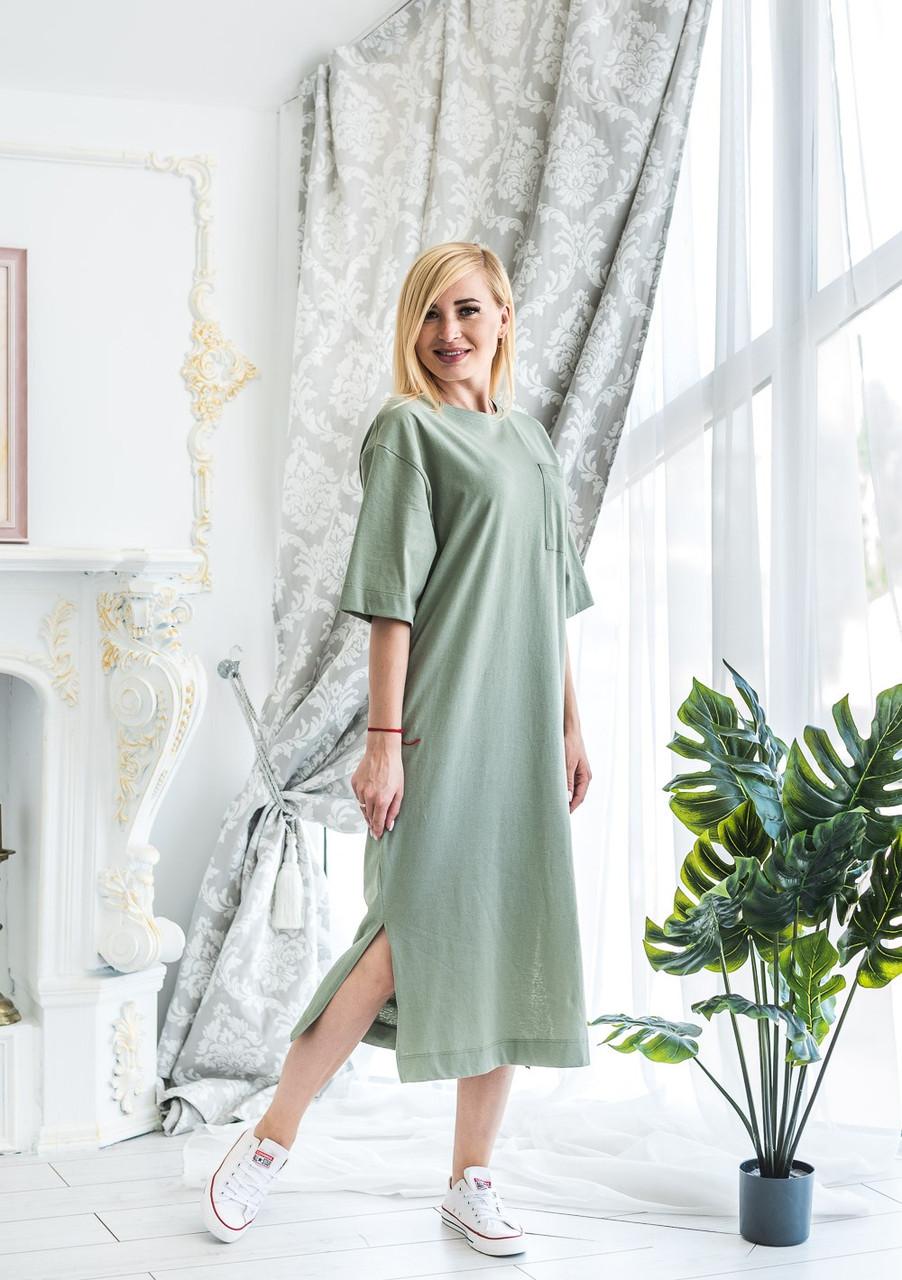 Женское летнее платье олива