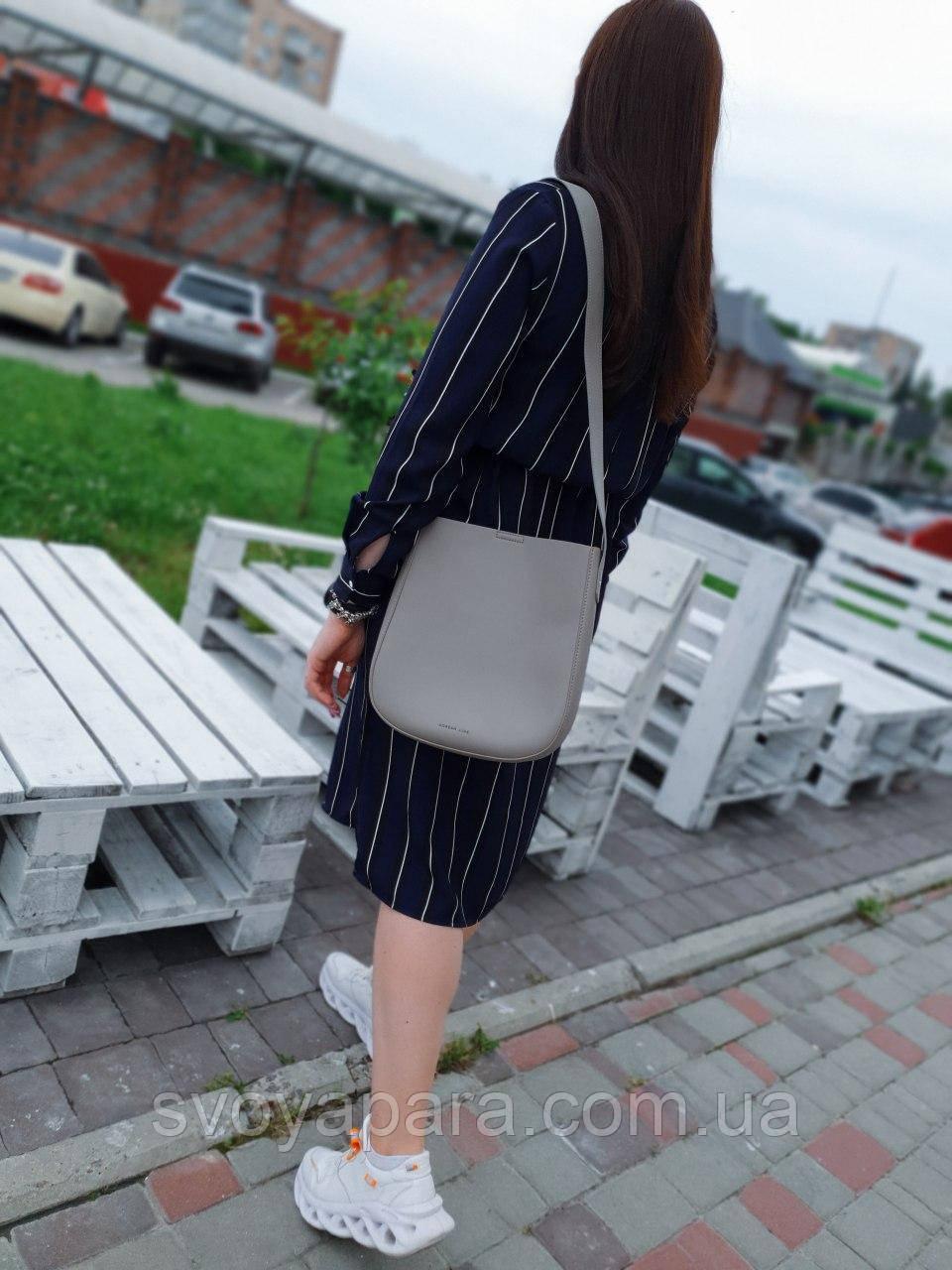 Женская кожаная сумка размером 26х25 см Серая (01229)