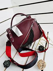 Женская кожаная сумка размером 23х17 см Бордовая (01101)